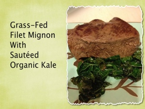grass-fed steak and kale
