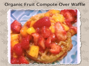 fruit compote over waffle